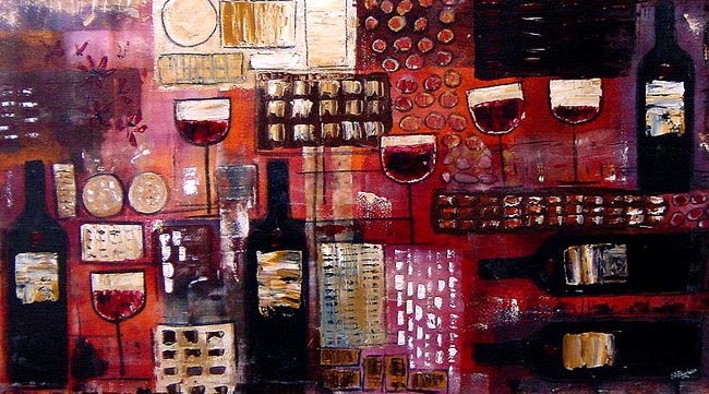 Claret & Truffles abstract painting