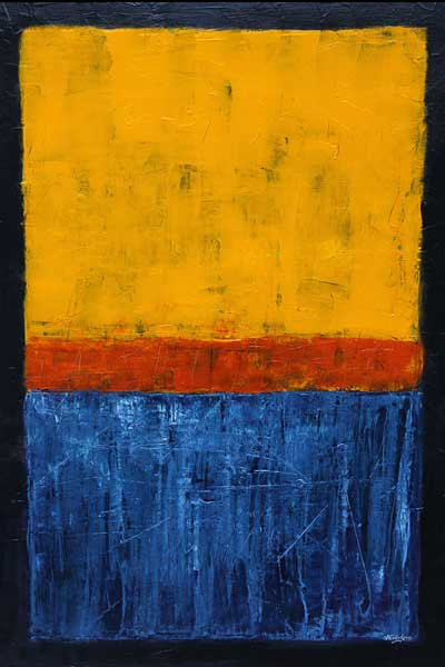 Yellow Orange Blue abstract painting
