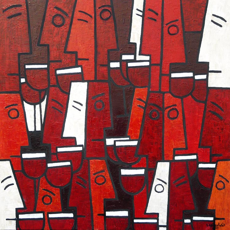 abstract wine paintings