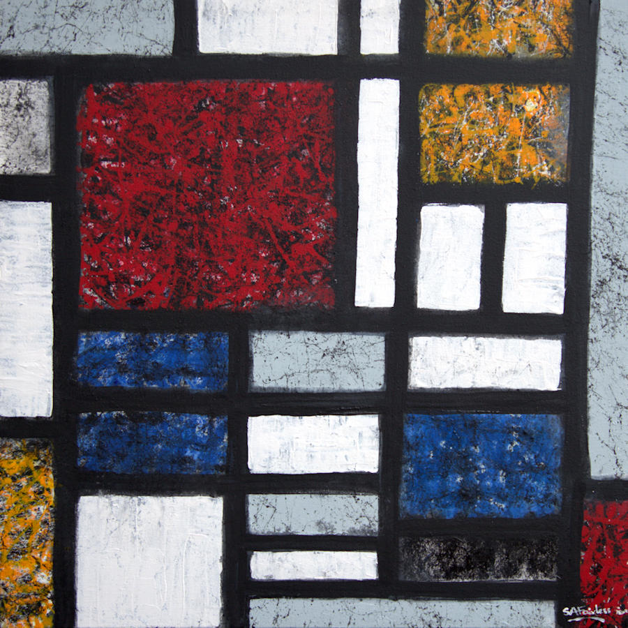 Mondrian and Pollock painting