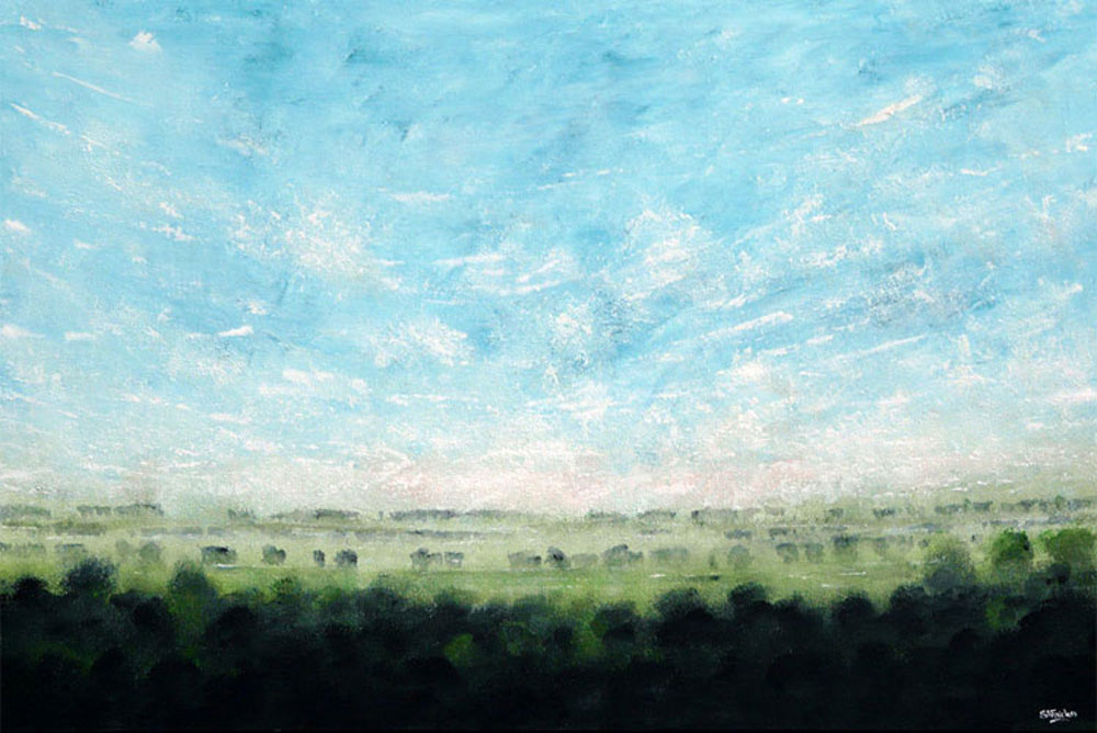 large green landscape painting