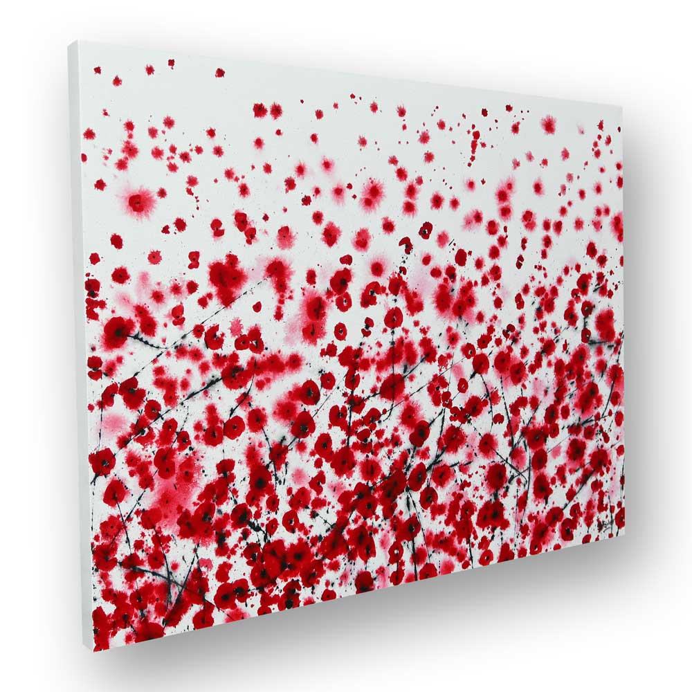 large floral poppy painting