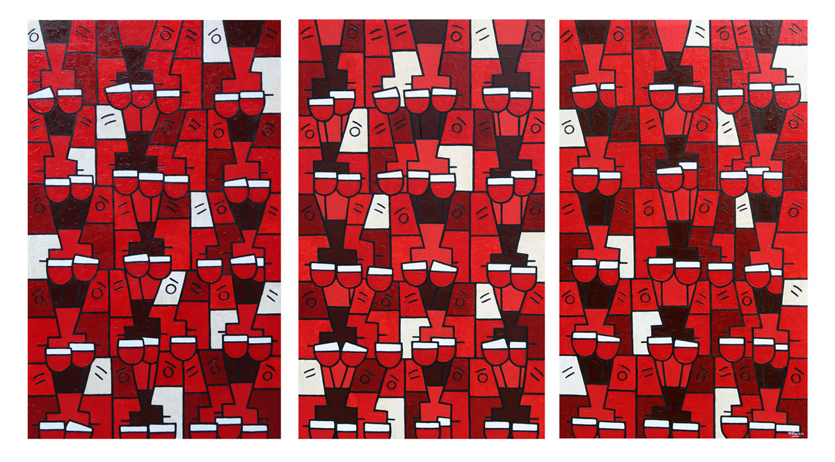 red abstract wine art