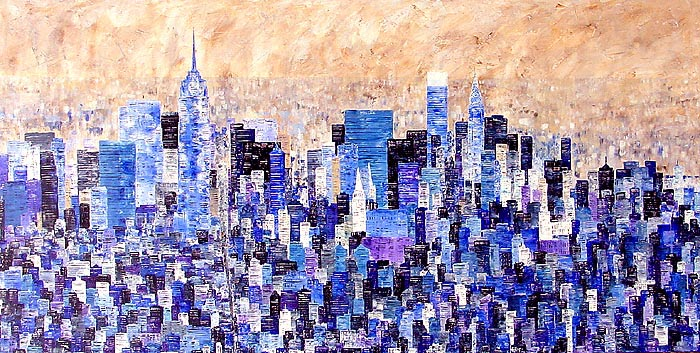 Fith Avenue new york cityscape painting