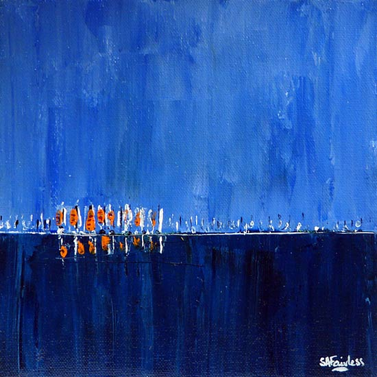 Far Fleet 8x8 - Blue seascape painting of a line of sails on a tranquil deep blue sea on canvas.