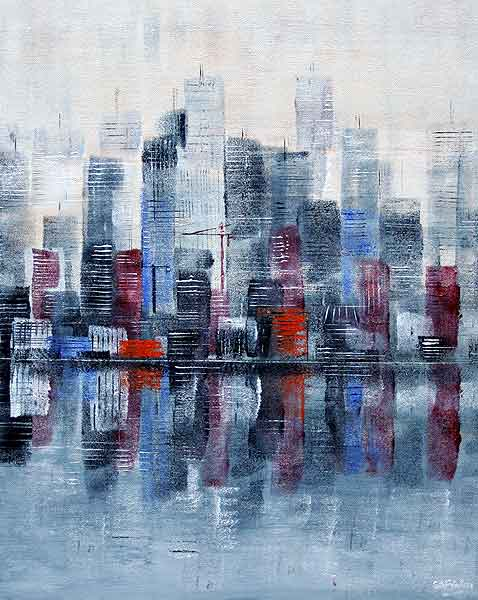 Waterfront cityscape Painting