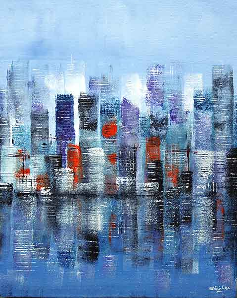 Waterfront II cityscape Painting