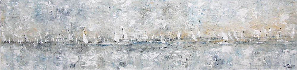 Sailing by Winter Light seascape Painting