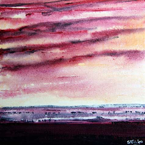 Red Dawn Landscape Painting