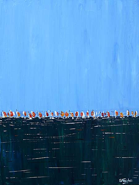 August Sails 12x16 - Blue seascape painting of a line of sails on a tranquil deep blue sea on canvas.
