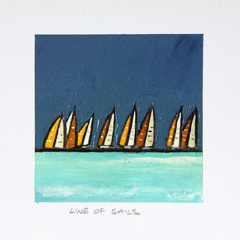 Line of Sails 4x4 - small seascape painting of a line of boats on the horizon a prfect gift. Framing available