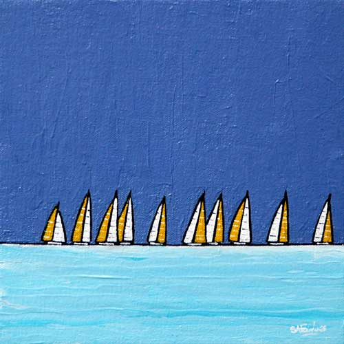 Yellow Sails 8x8 - small seascape painting of a line of boats on the horizon a prfect gift.