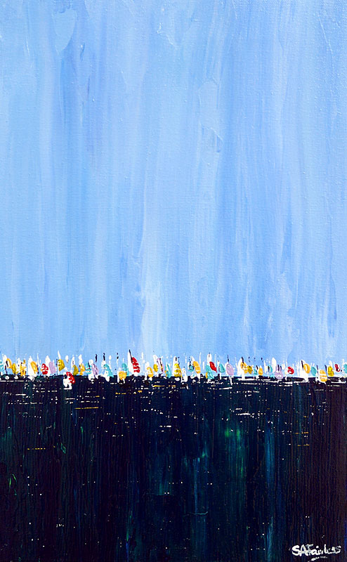 Regatta - 10x16 - Blue seascape painting of a line of sails on a tranquil deep blue sea on canvas.