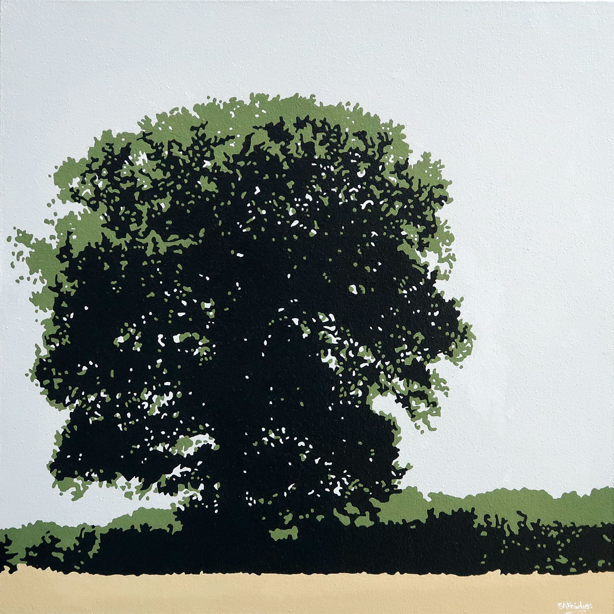 Oak tree summer landscape painting