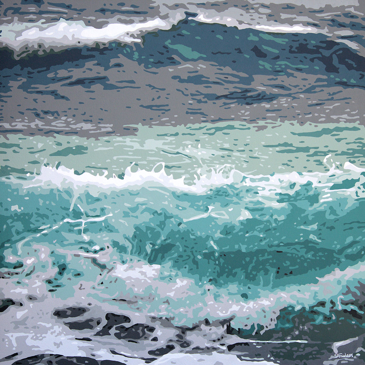 wave seascape painting