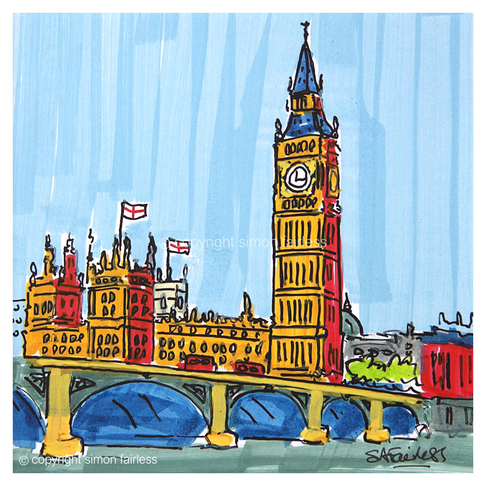 Westminster and Big Ben drawing