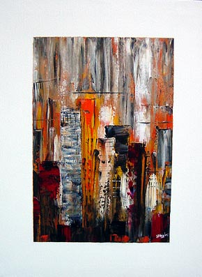 City Block cityscape painting