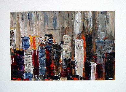 City Block II cityscape painting