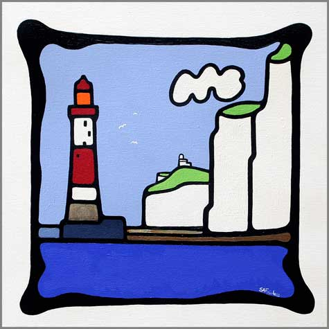 Beachy Head 14x14 - Popart seascape paintng of a beachy head lighthouse.