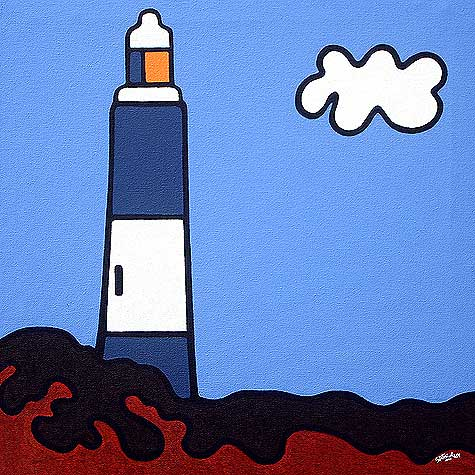 Spurn Head 20x20 - Popart seascape paintng of a spurn head lighthouse.