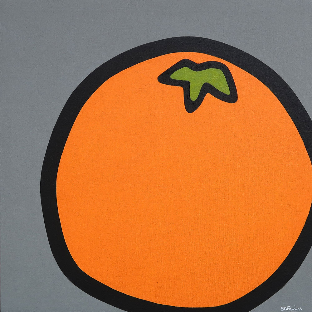 pop art painting of orange