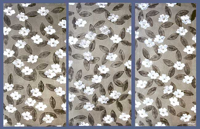 Scattered Leaves & White Flowers Floral Painting