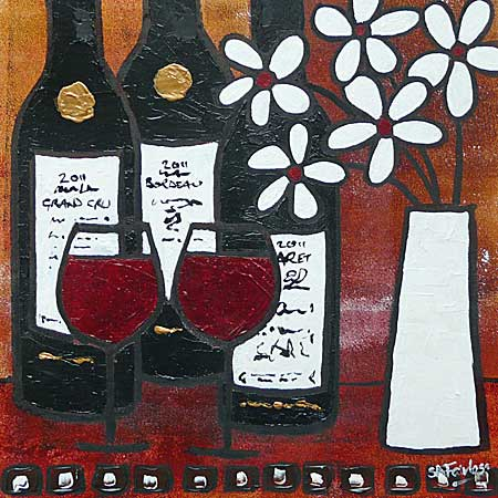 3 Red 2 Glasses.. No Problem abstract still life painting