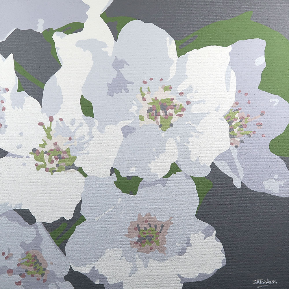 White Apple Blossom painting