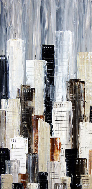 Urban abstract cityscape paintings